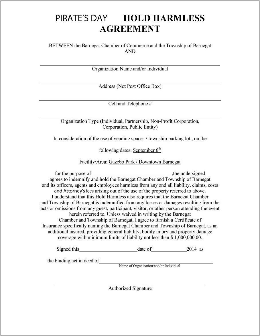 Free Sample Hold Harmless Agreement Template