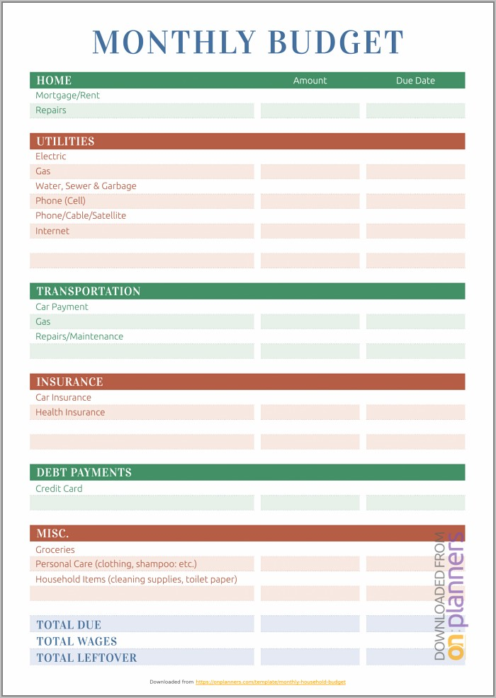 Free Simple Monthly Household Budget Template