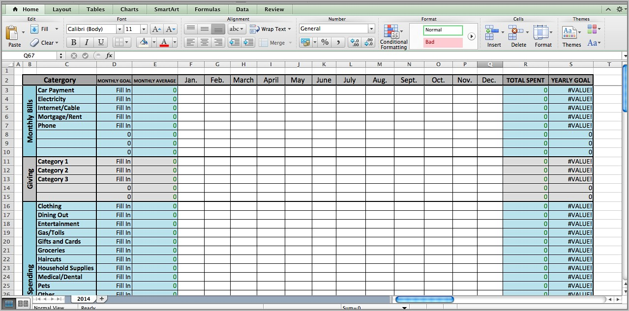 Free Spreadsheet Template For Household Budgeting
