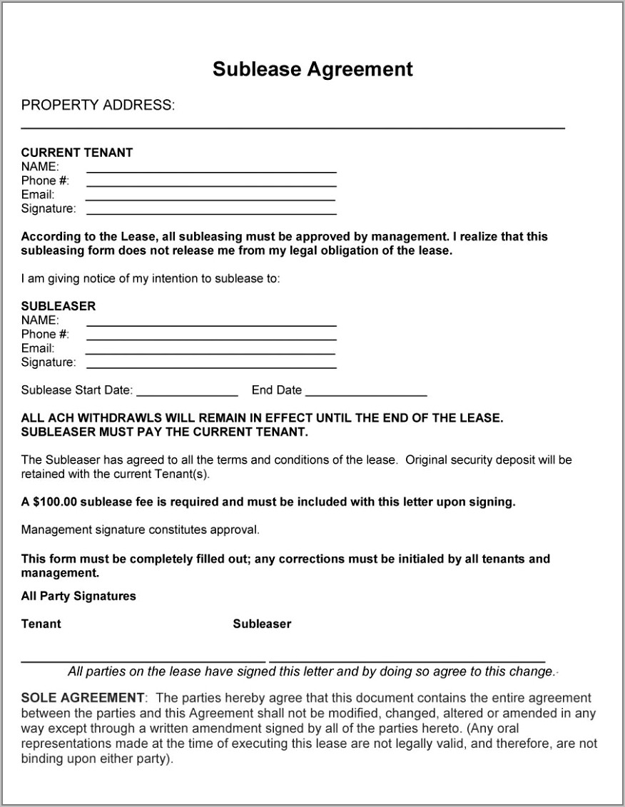 Free Sublease Agreement Template Word Australia