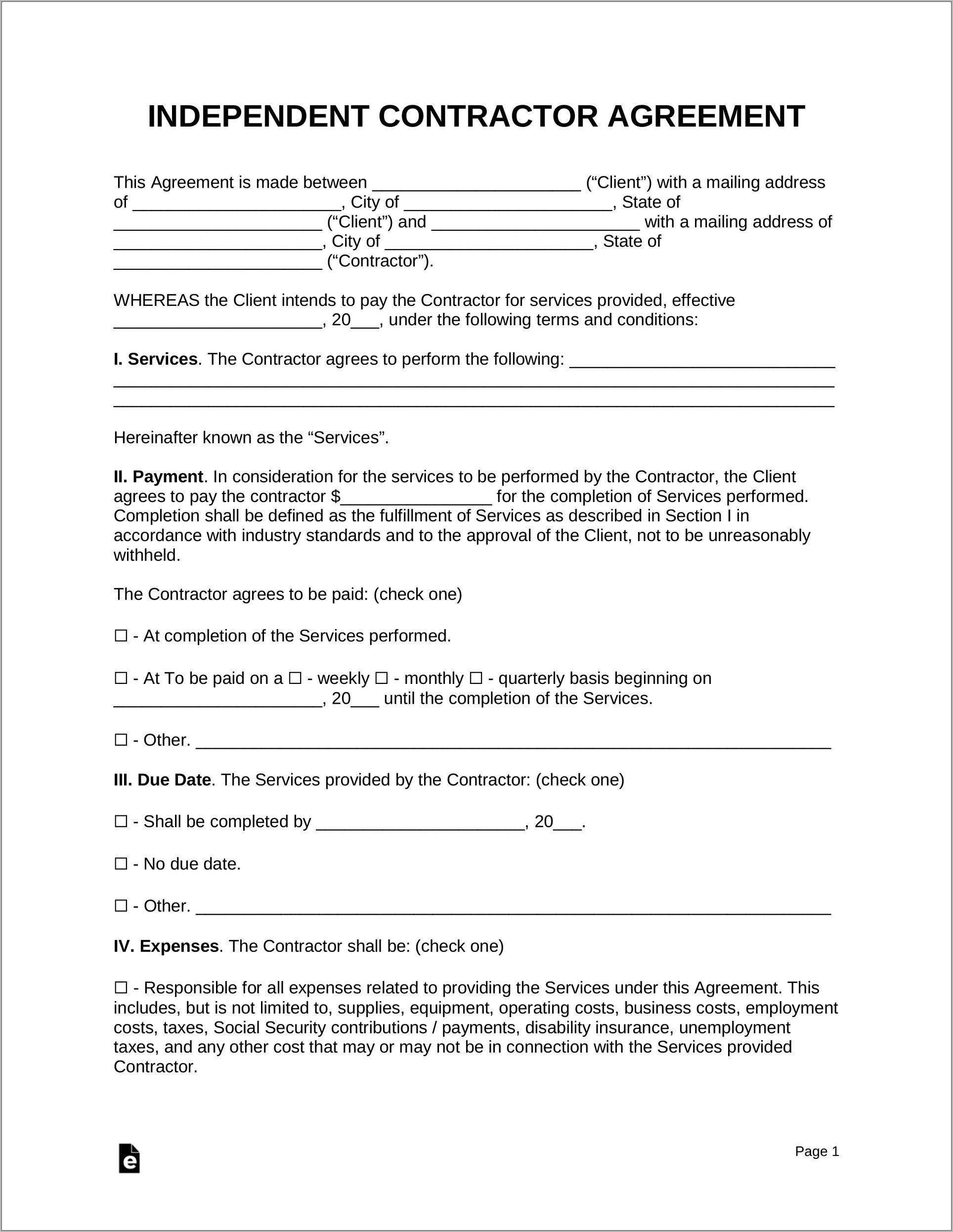 Free Template For Contractor Agreement