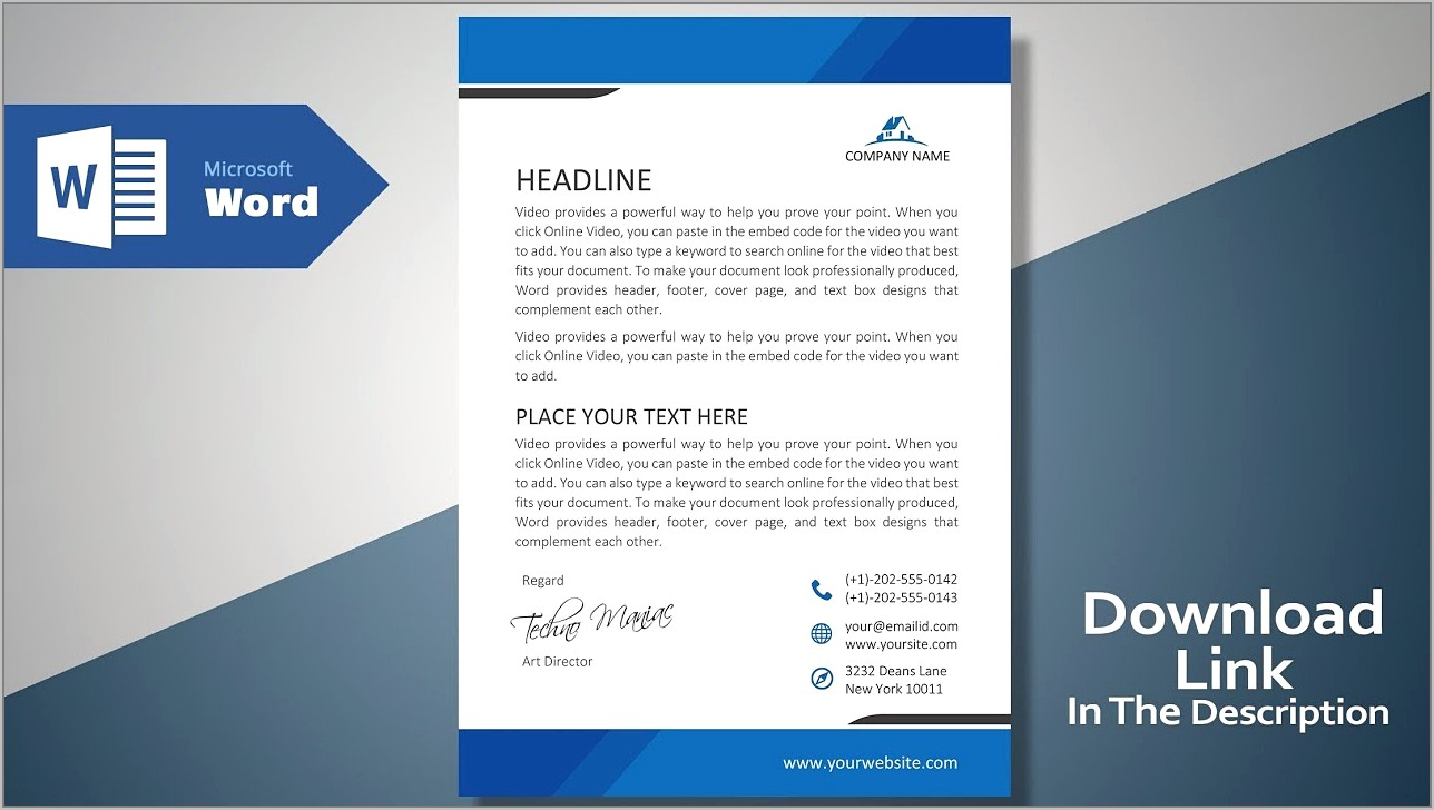 Free Template For Letterhead Microsoft Word