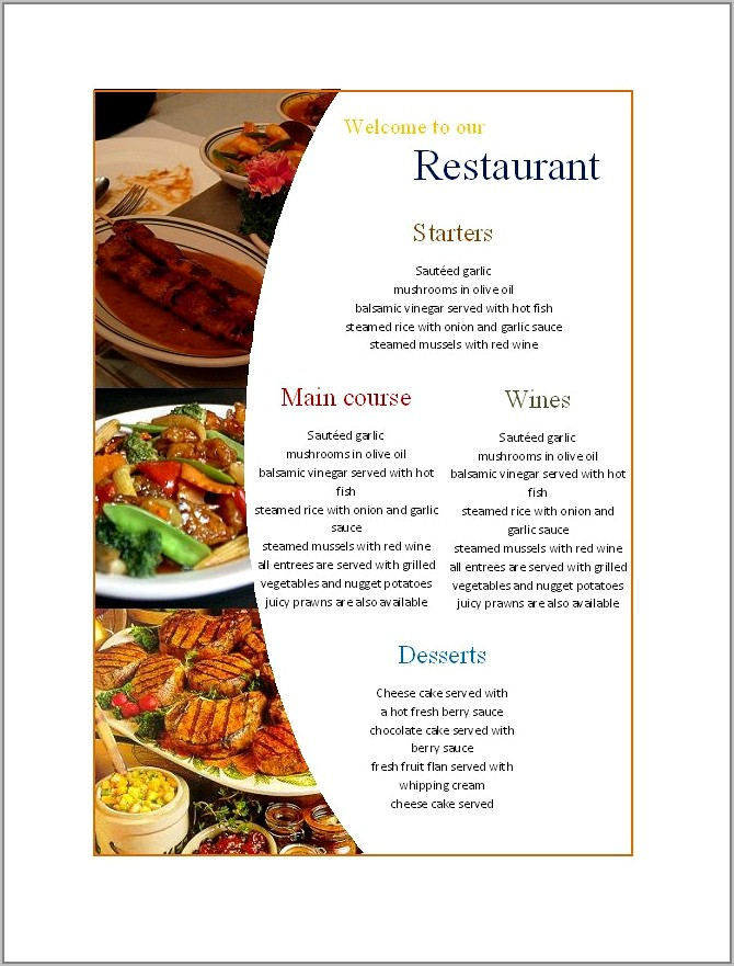 Free Templates For Restaurant Menus On Word