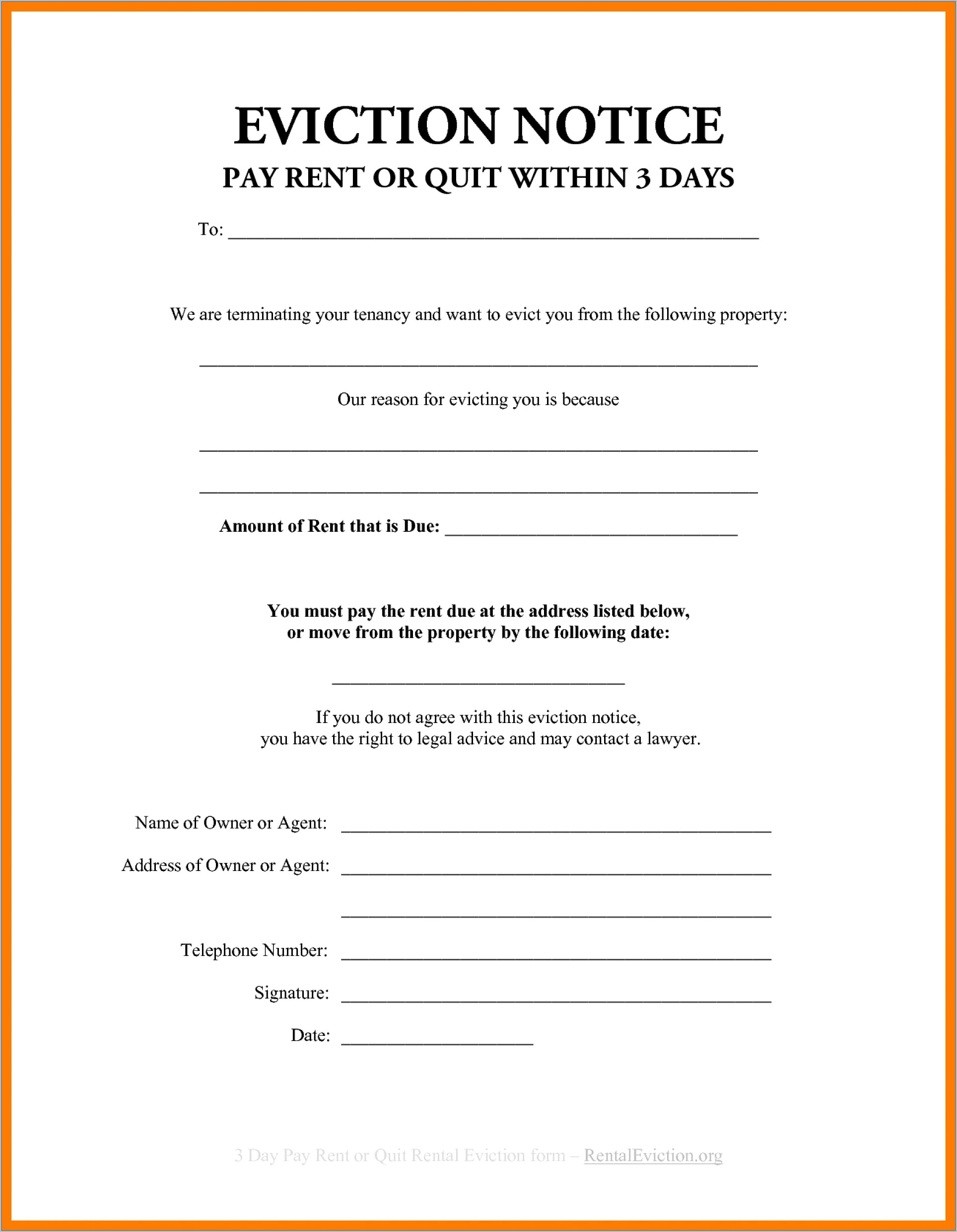 Free Tenant Eviction Letter Template