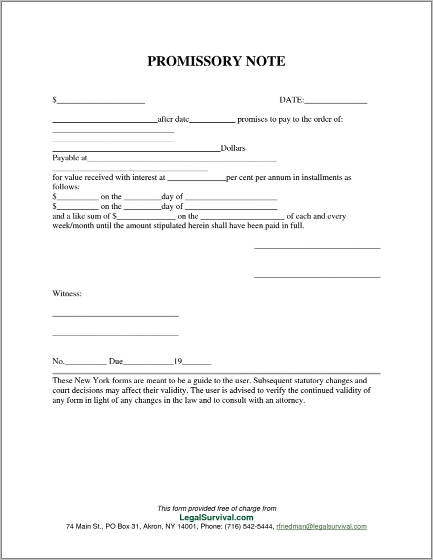 Free Unsecured Promissory Note Template