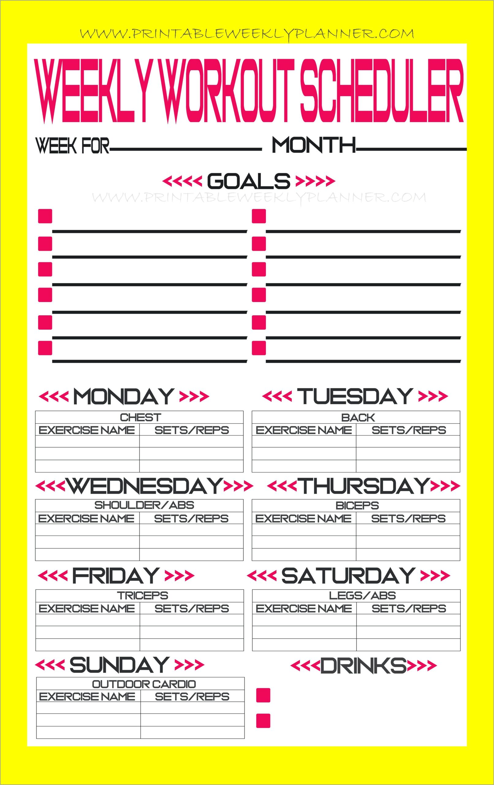 Free Weekly Workout Planner Template