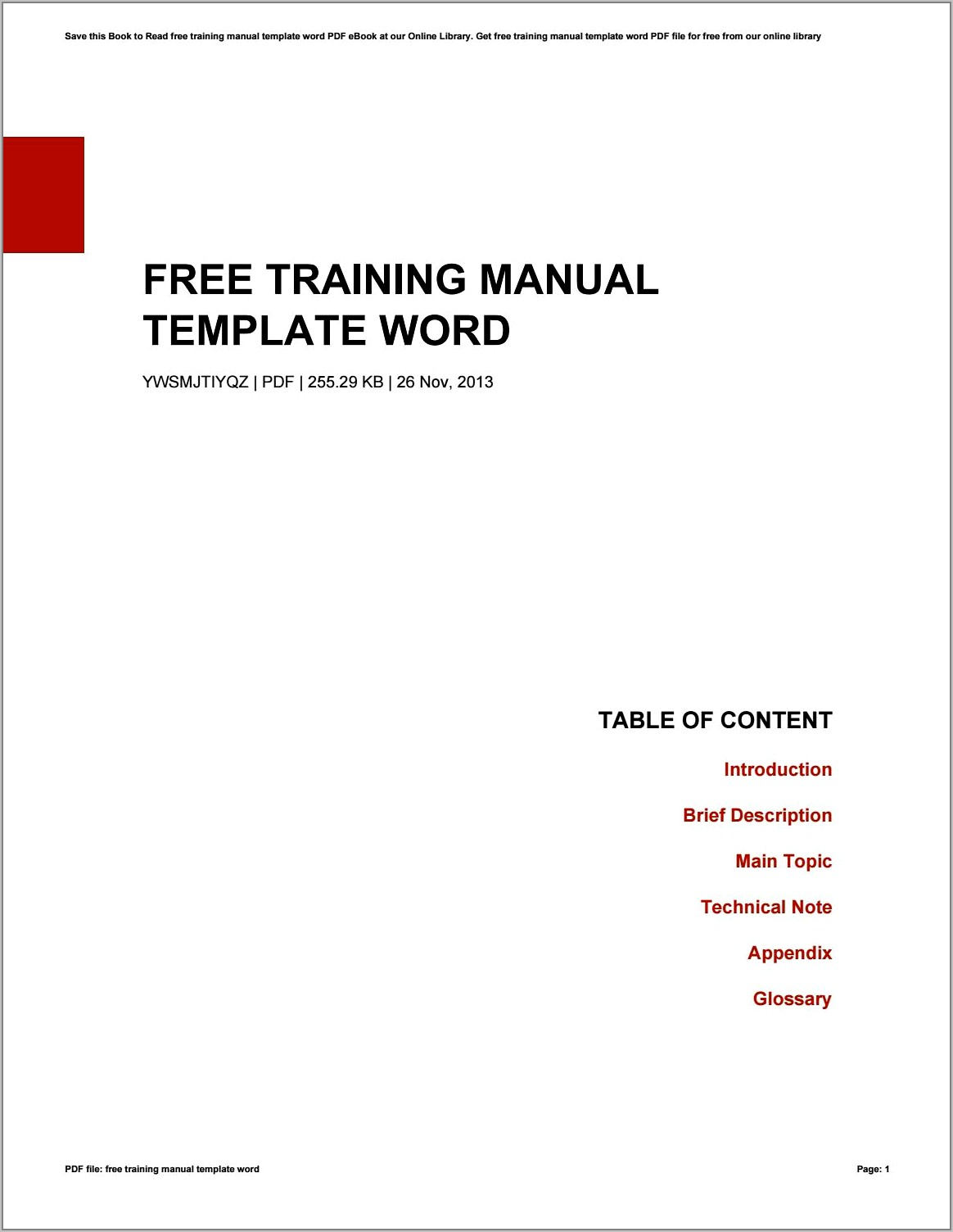 Free Word Templates For Training Manuals