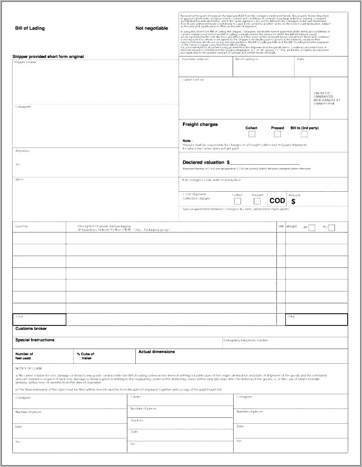 Freight Bill Of Lading Example