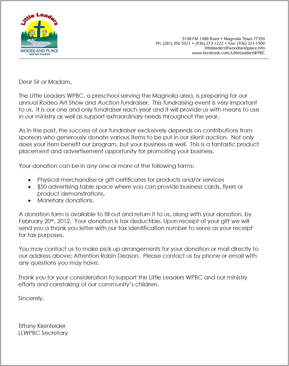 Fundraising Request For Donation Letter Template