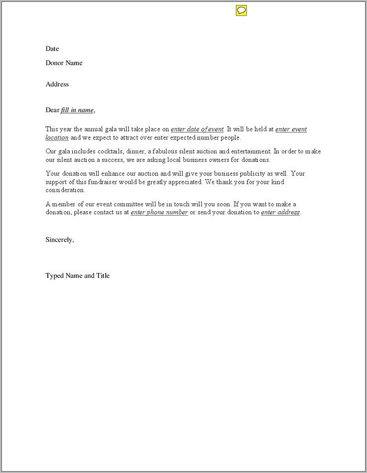 Fundraising Sample Letters Template