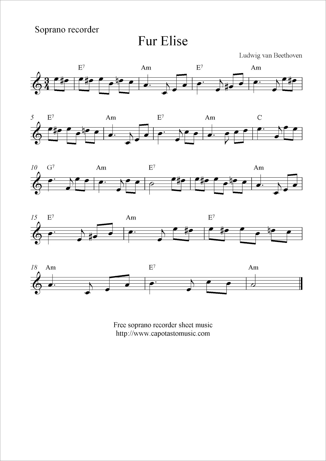Fur Elise Piano Easy Notes Letters