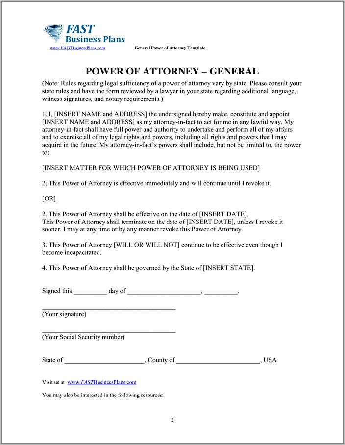 General Power Of Attorney Template Pdf