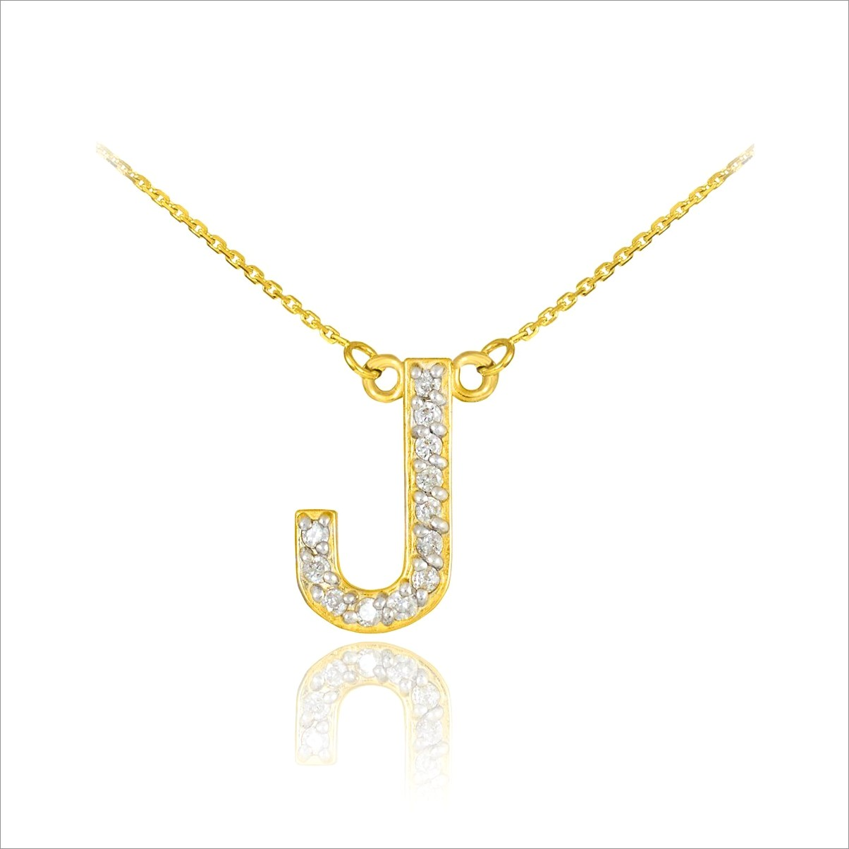 Gold Diamond Letter Pendant Necklace