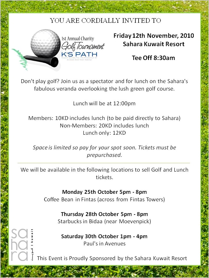 Golf Outing Invitation Template
