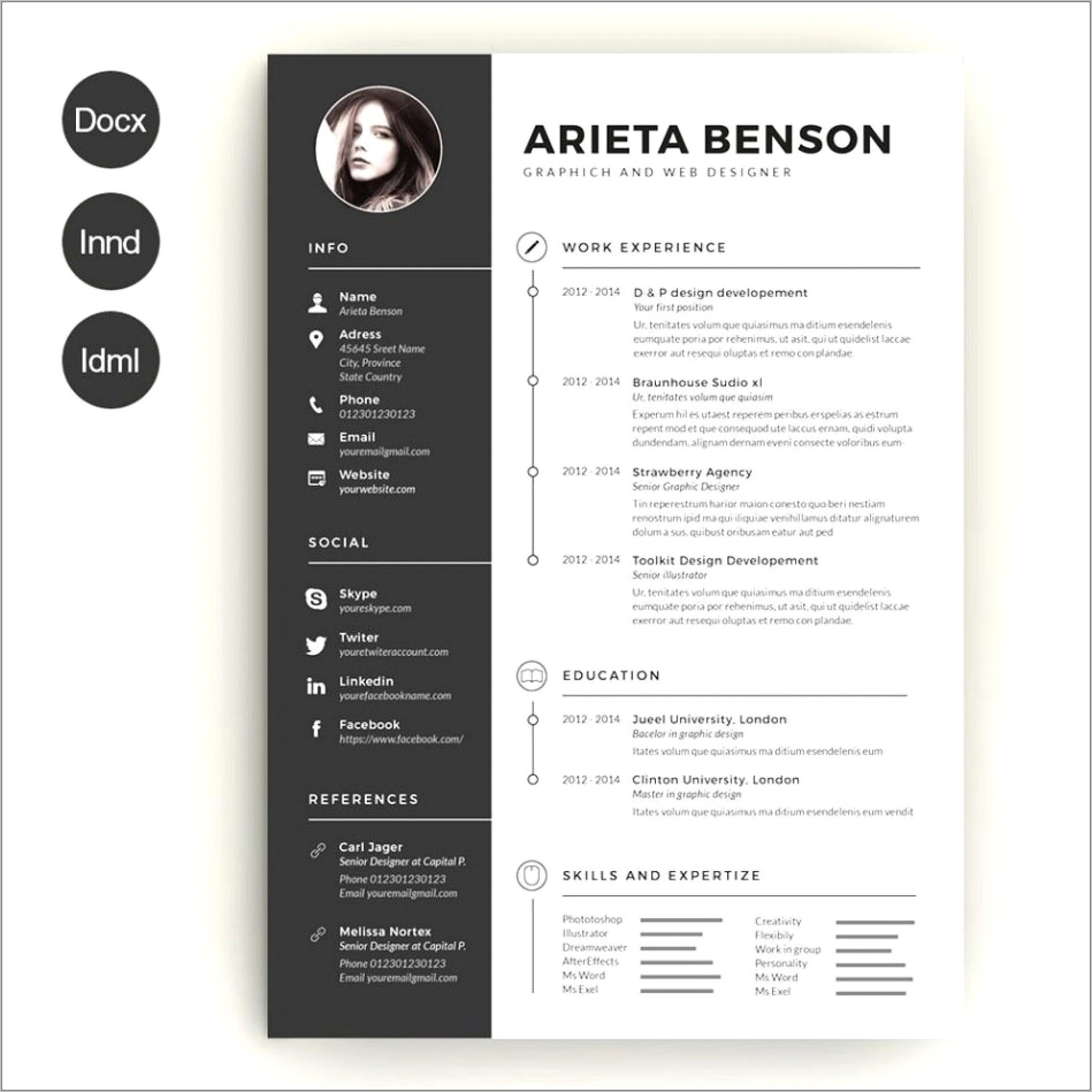 Graphic Design Resume Template Word Free