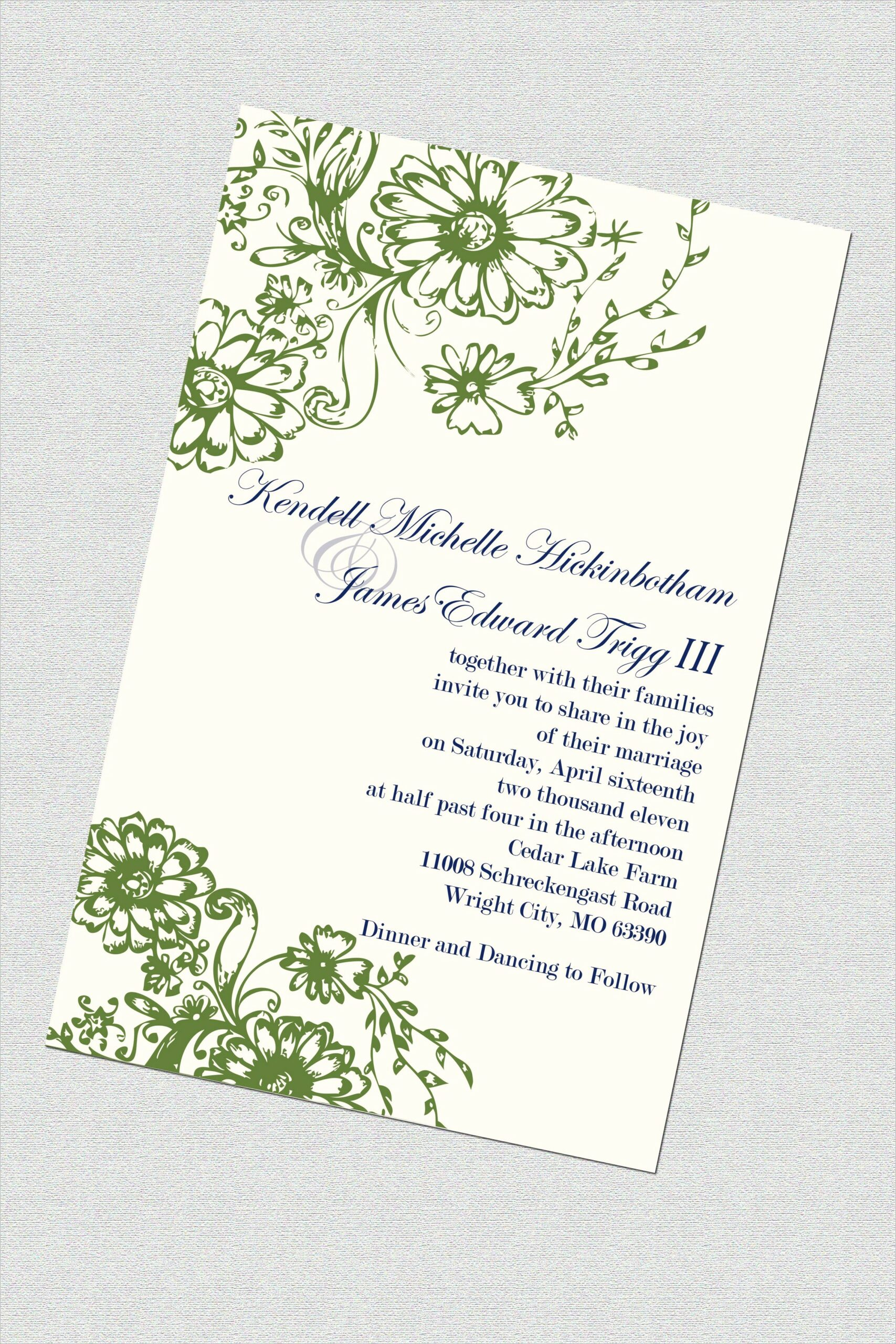 Green And Ivory Wedding Invitations