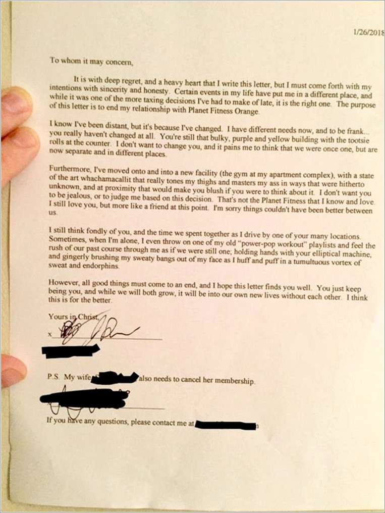 Gym Membership Cancellation Letter Planet Fitness