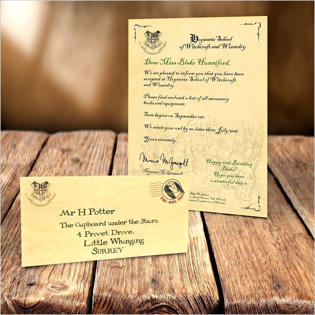 Harry Potter Acceptance Letter Gift