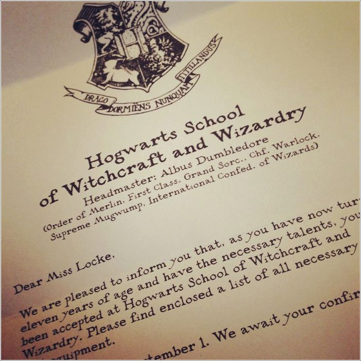 Harry Potter Letter Template Free