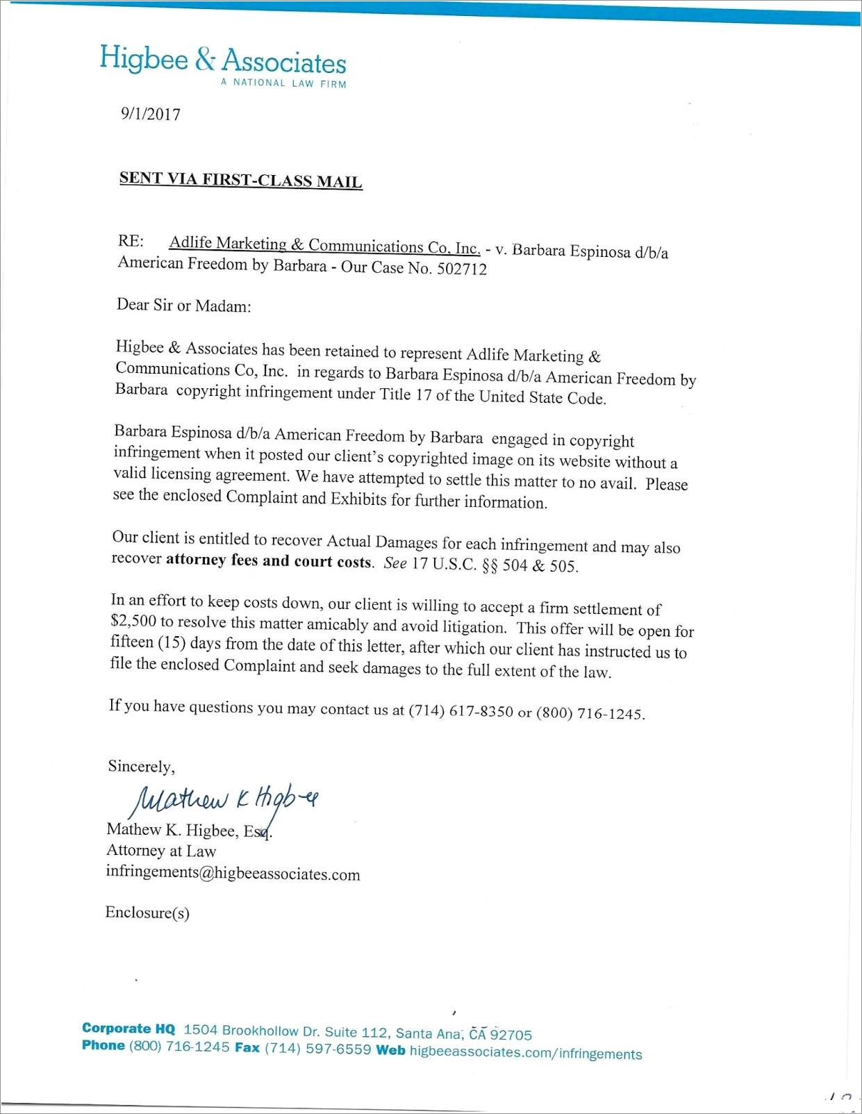 Higbee And Associates Copyright Infringement Letter