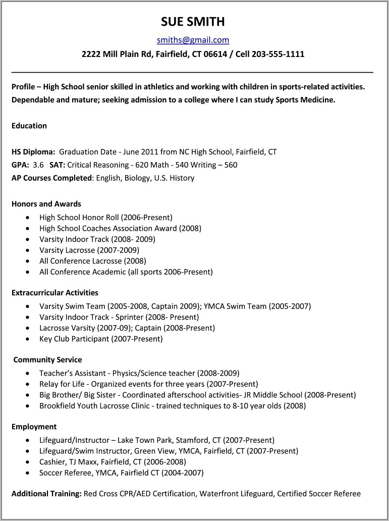 High School Resume Examples For College Applications