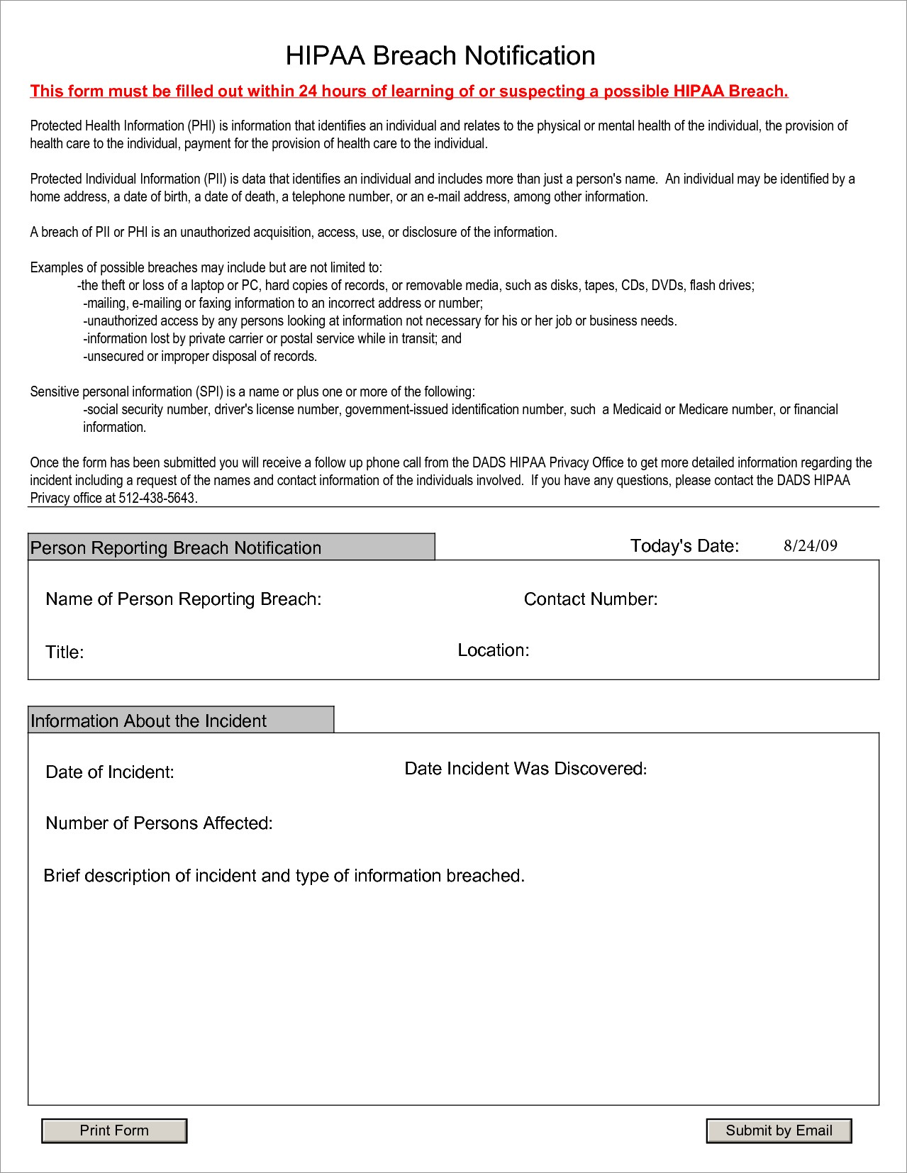 Hipaa Breach Notification Letter Example