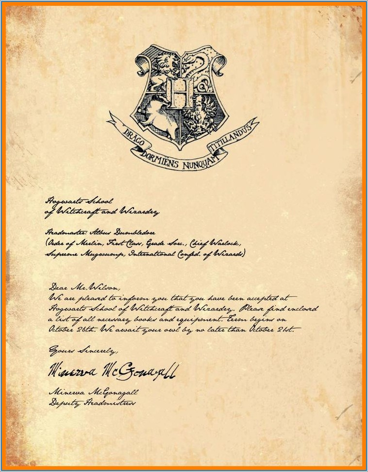 Hogwarts Acceptance Letter Template Free