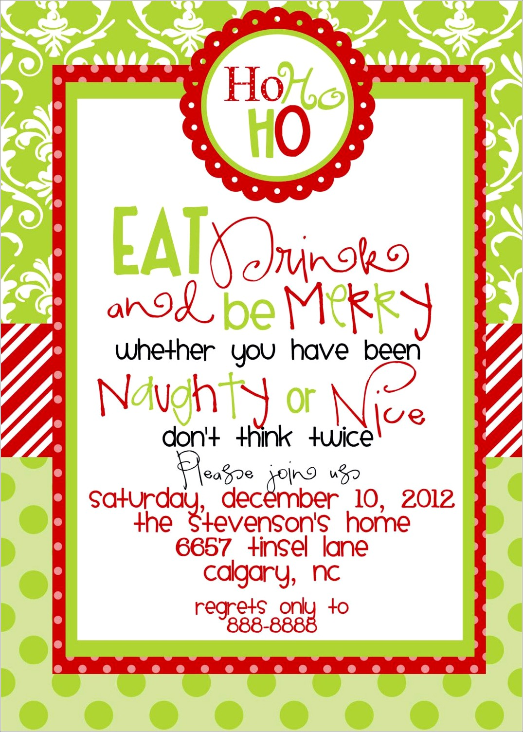 Holiday Invitation Template Free Word