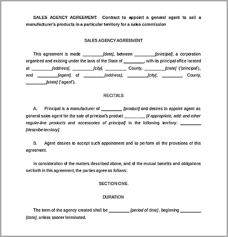 Home Sales Agreement Form Free