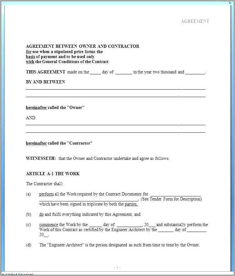 Home Sales Contract Example