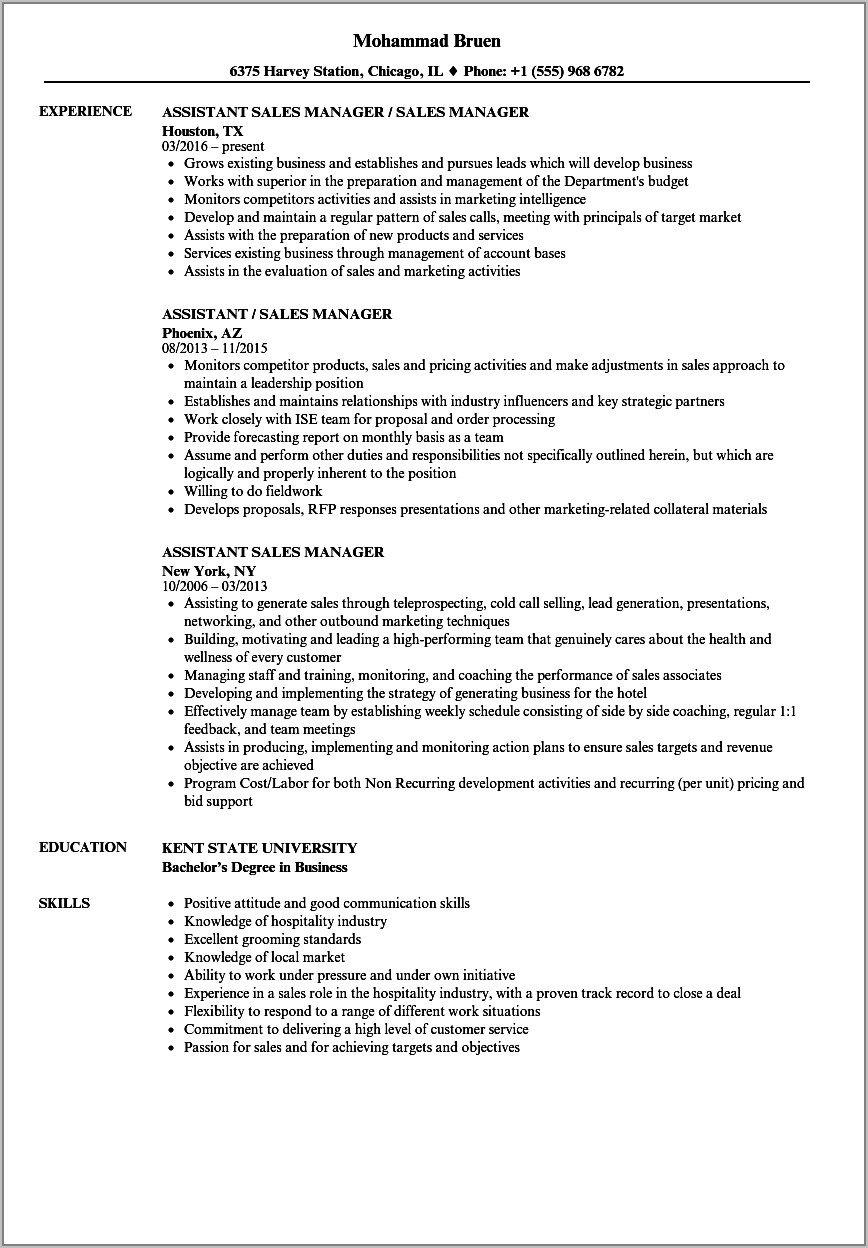 Hotel Sales And Marketing Manager Resume Sample