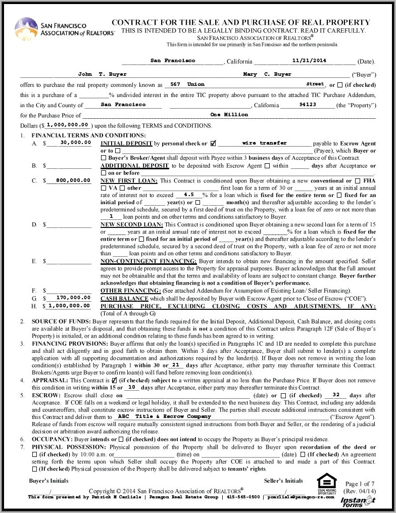 House Sale Contract Template Uk