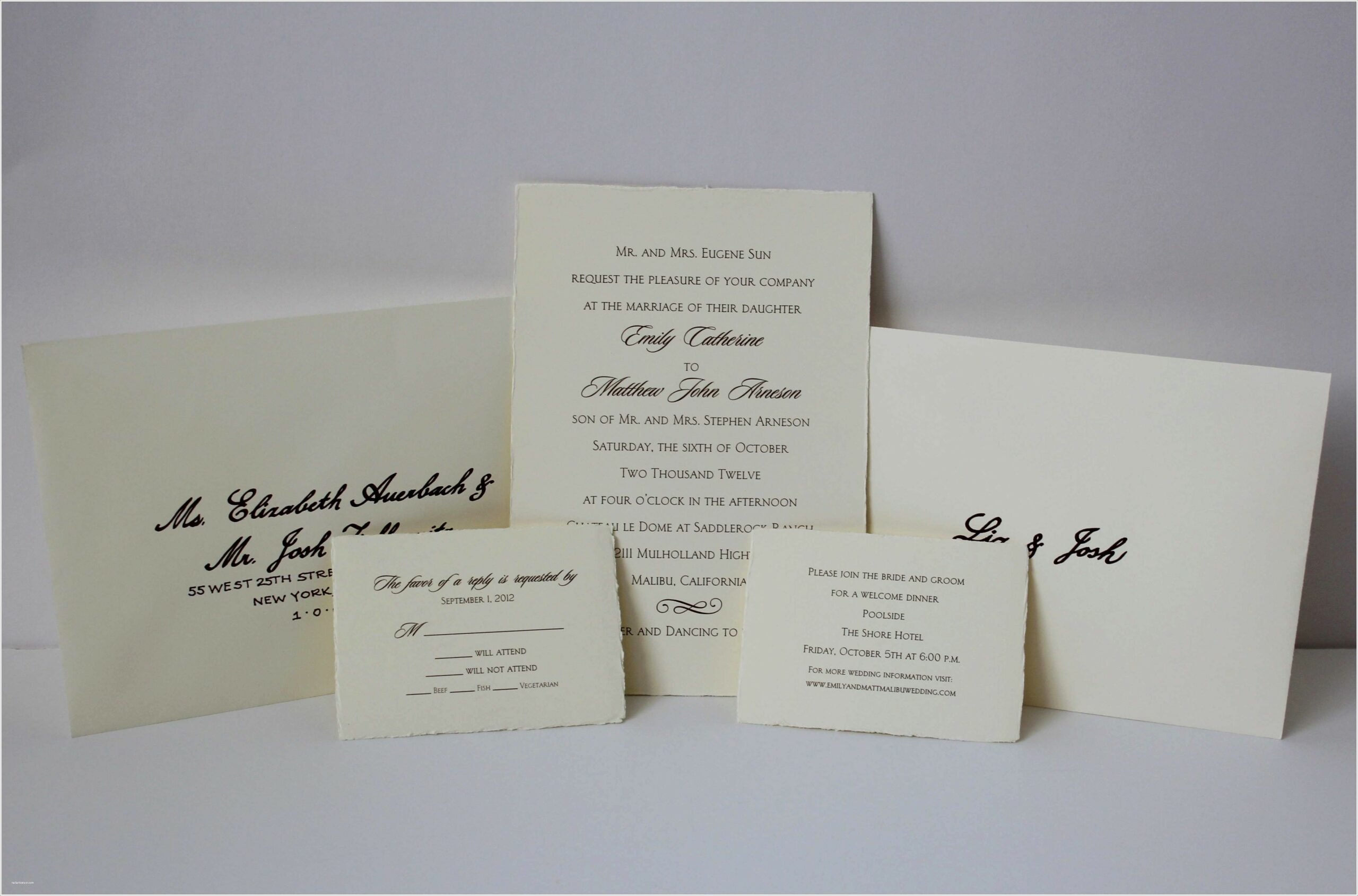 Inner And Outer Envelopes For Wedding Invitations