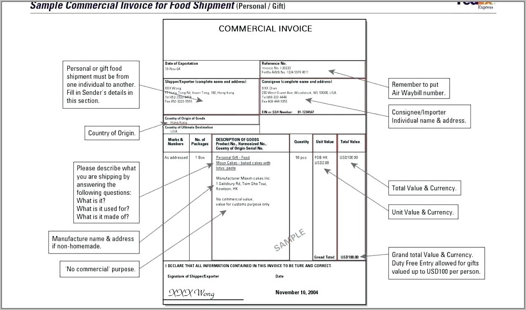 International Commercial Invoice Template Word