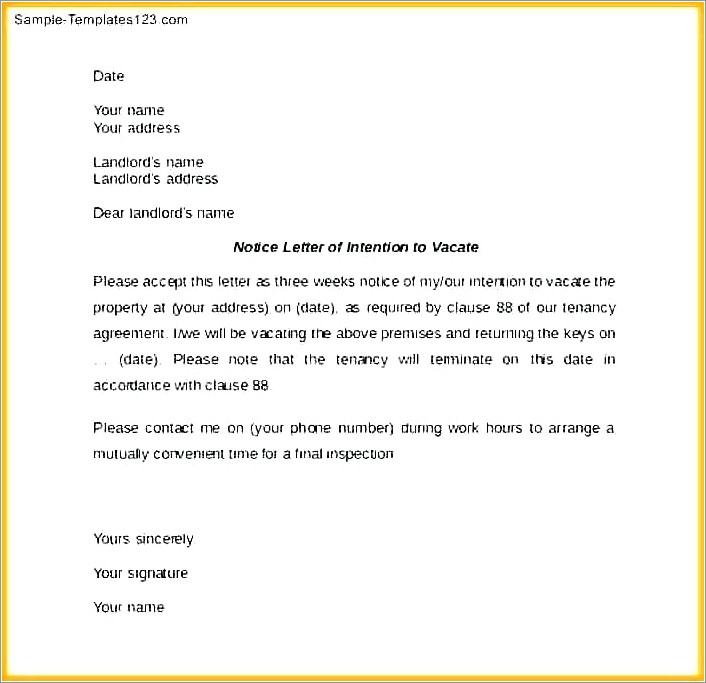 Landlord Letter To Vacate Premises