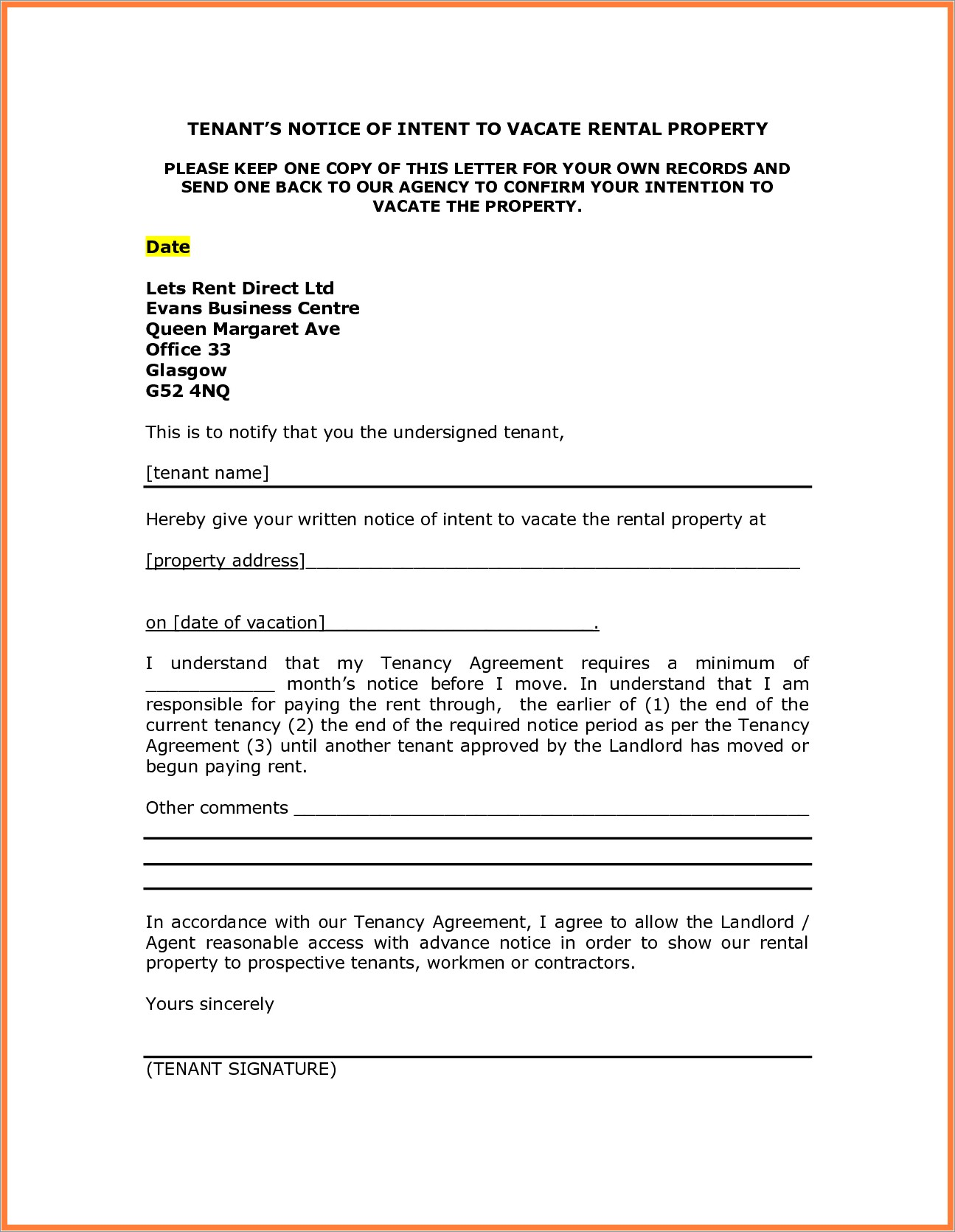 Landlord Notice To Vacate Letter Template