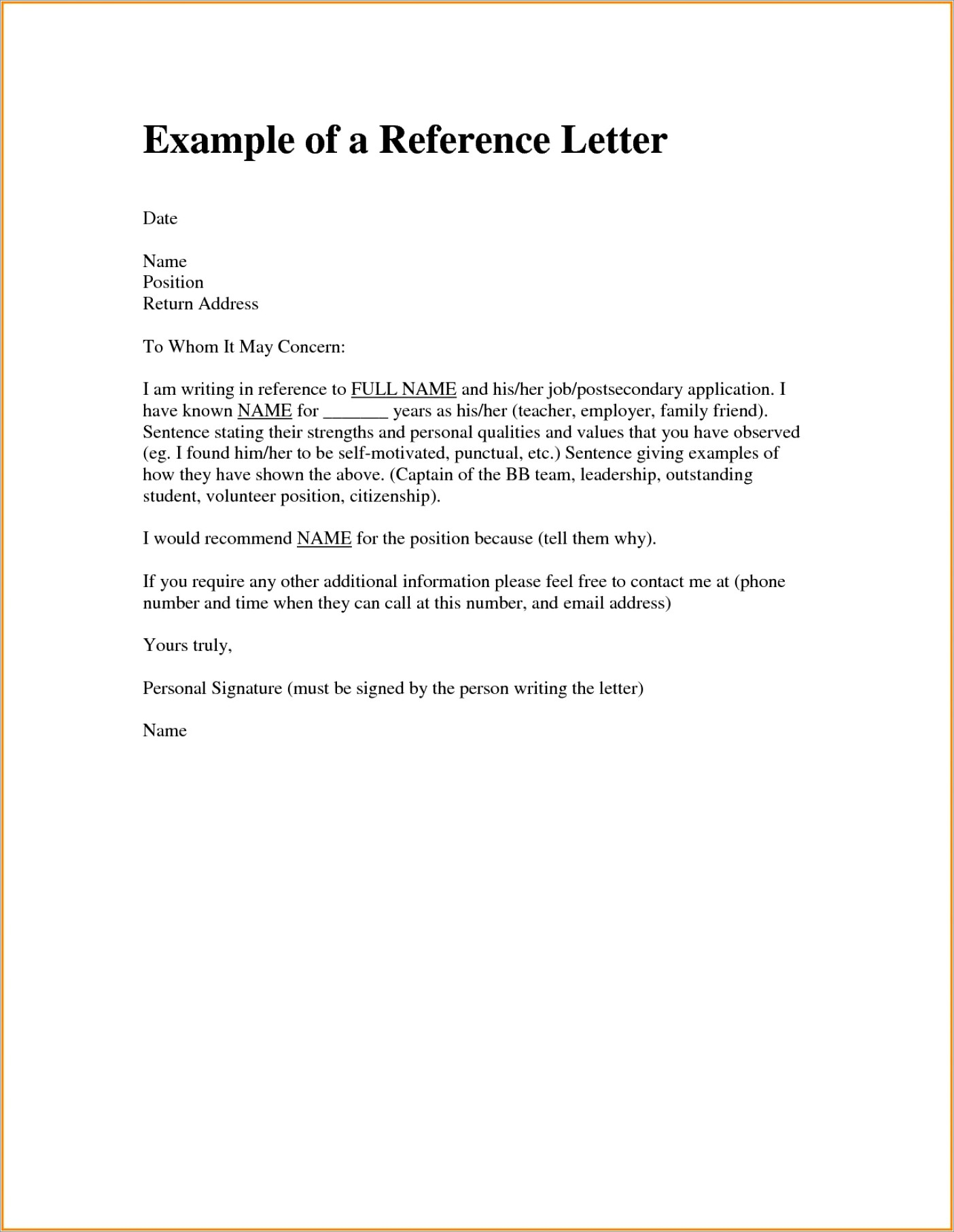 Landlord Reference Letter Template Canada