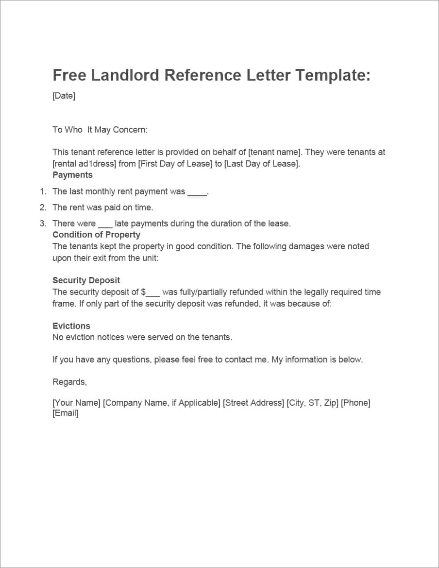 Landlord Reference Letter Template Nyc