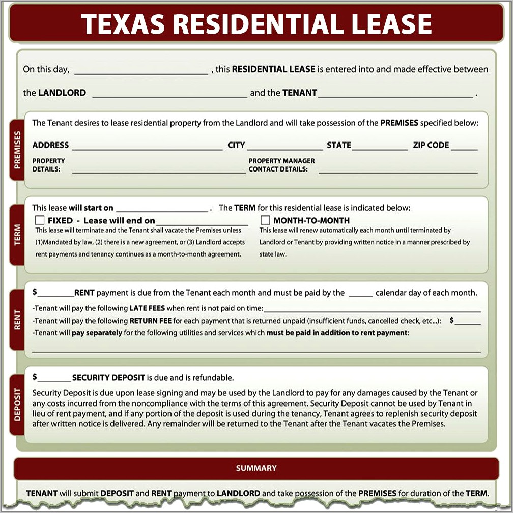 Landlord Tenant Contract Form