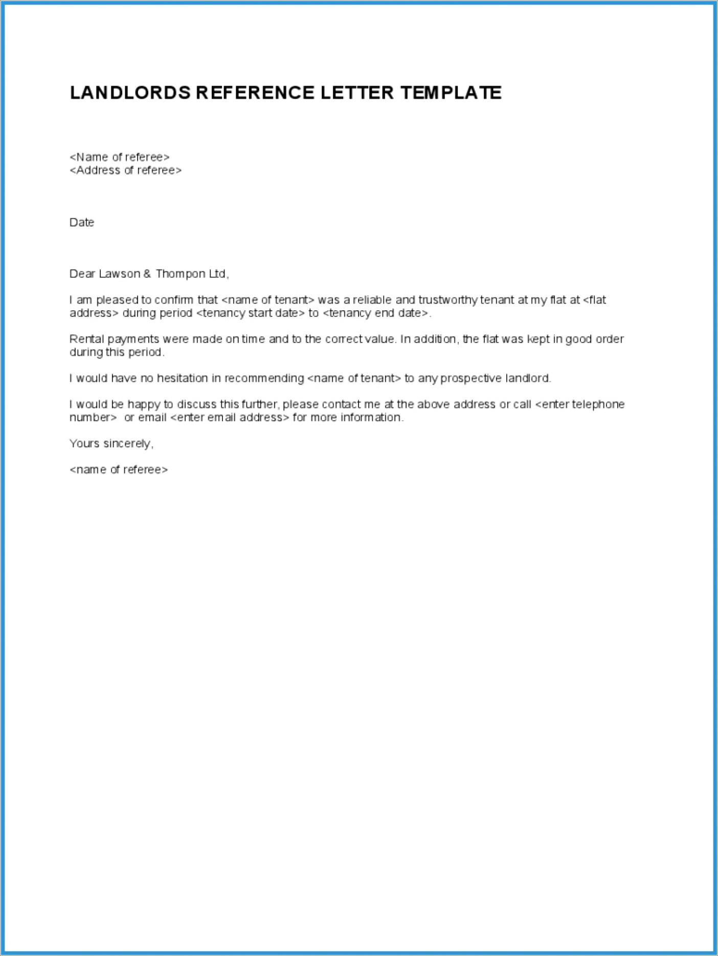Landlord Tenant Reference Letter Template