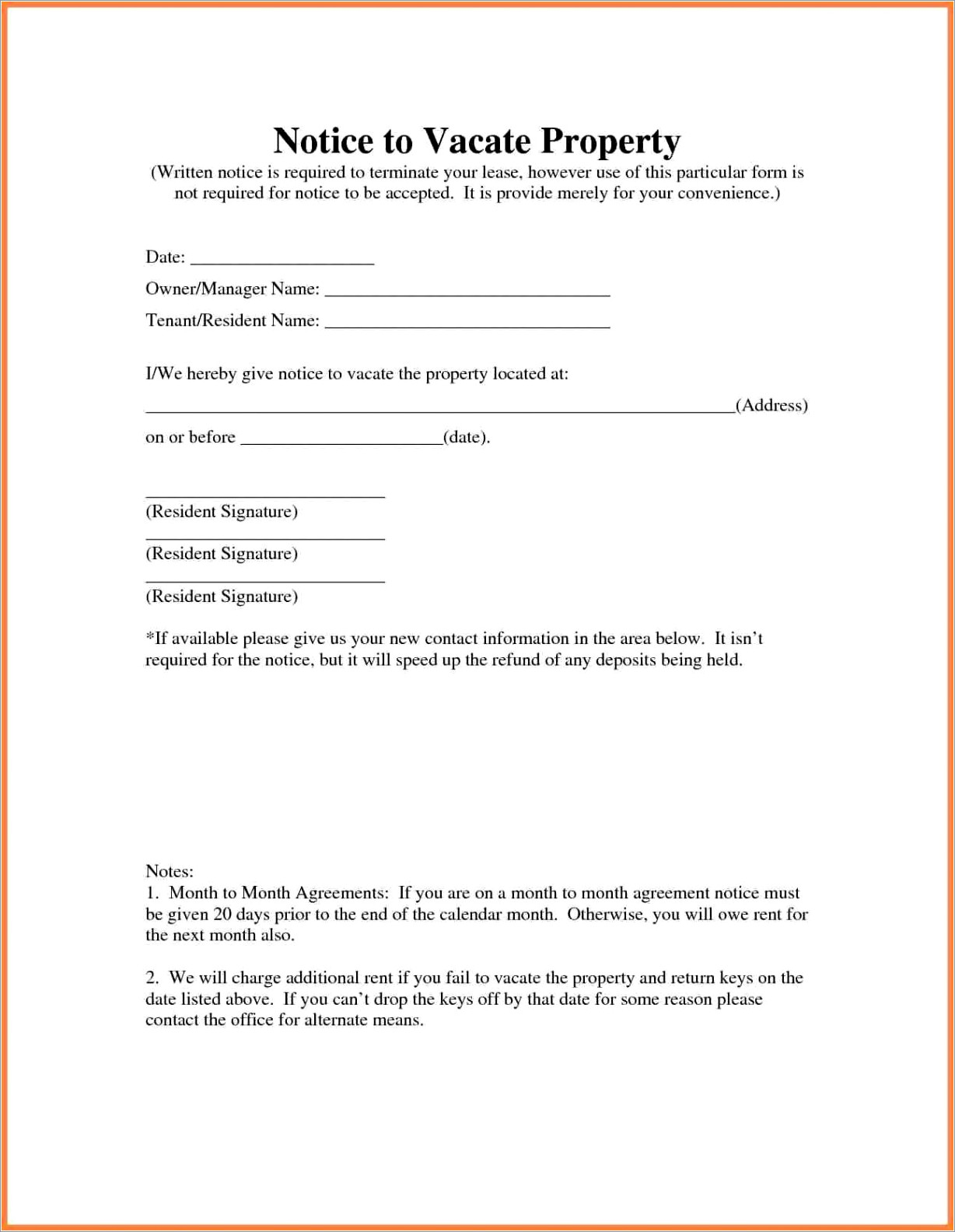 Landlord To Tenant Letter To Vacate