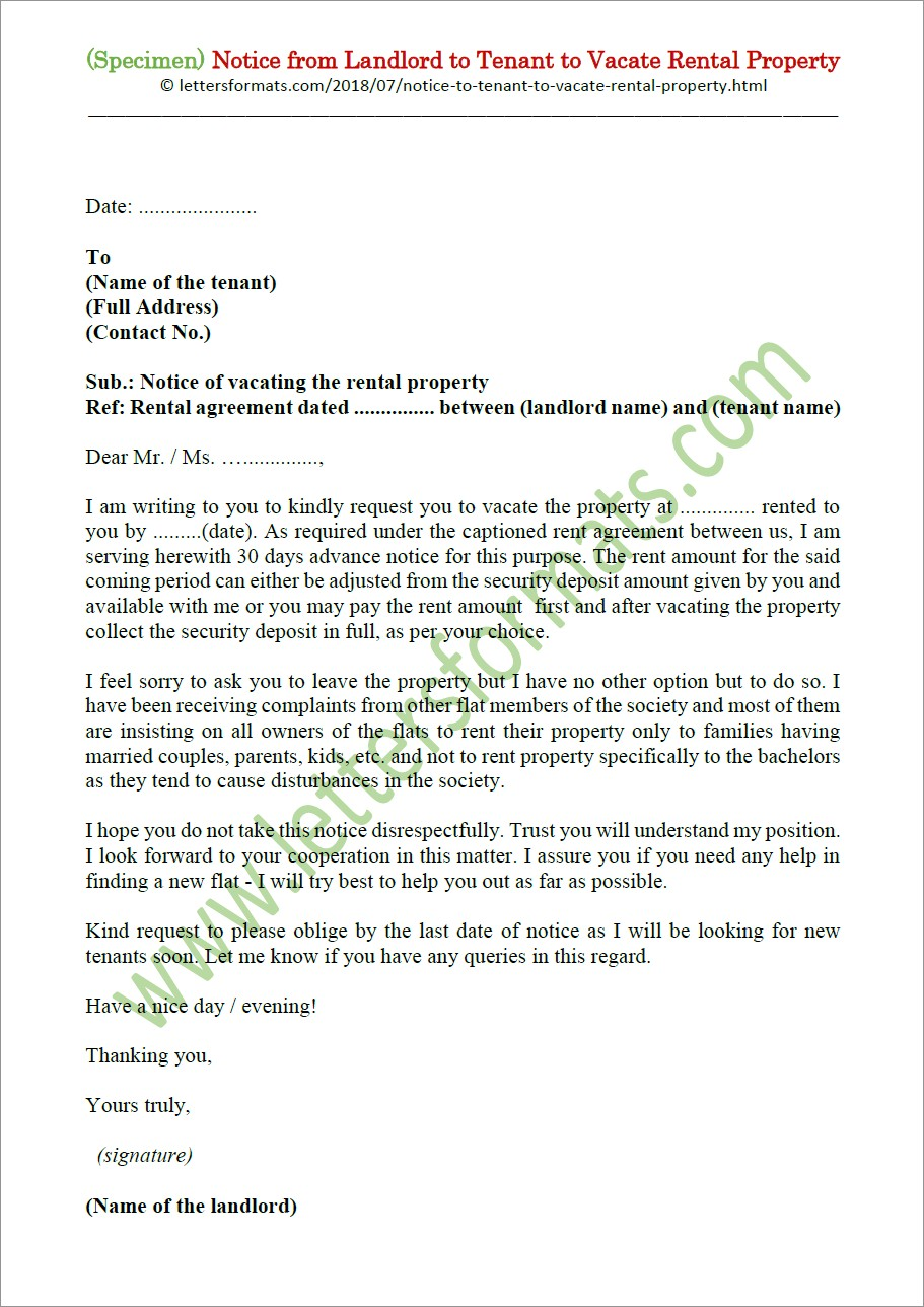 Landlord To Tenant Notice To Vacate Letter
