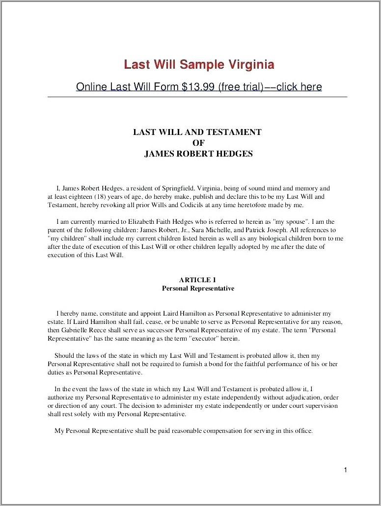 Last Will And Testament Templates Uk