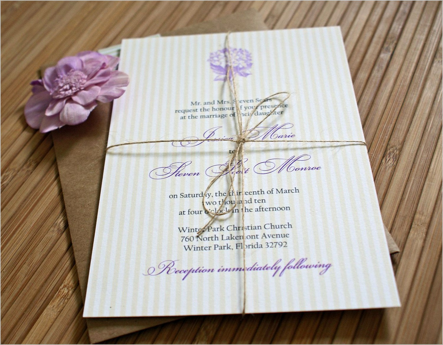 Lavender And Yellow Wedding Invitations