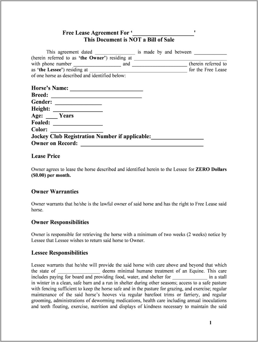 Lease Agreement Sample Word Document