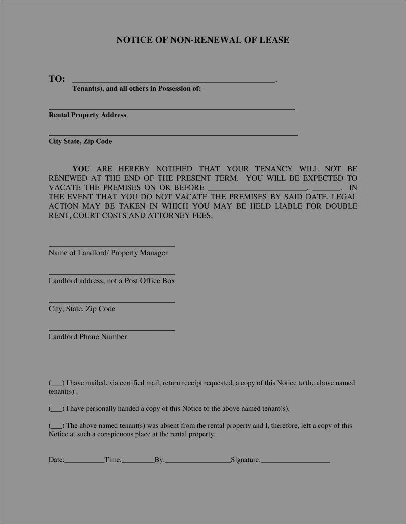 Lease Non Renewal Letter To Landlord Example