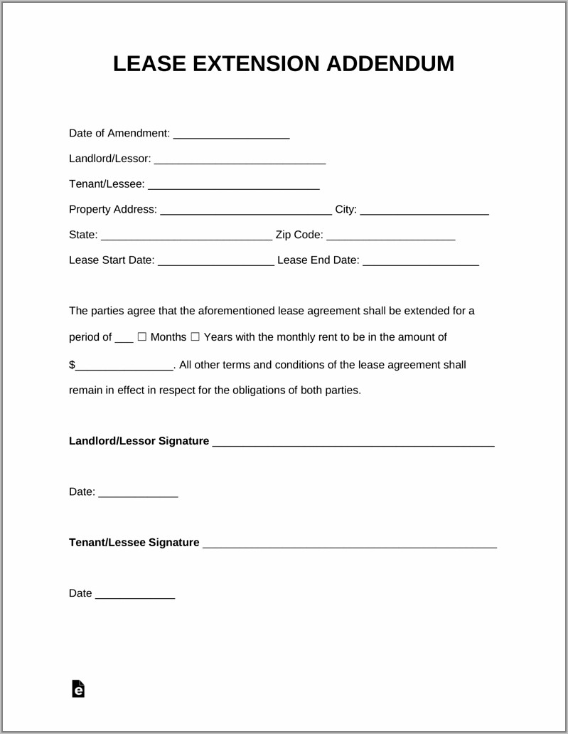 Lease Renewal Agreement Form Free