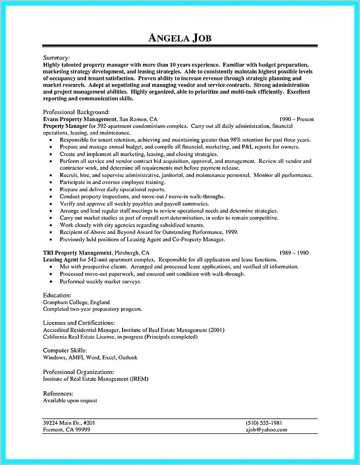 Leasing Consultant Cover Letter For Leasing Agent