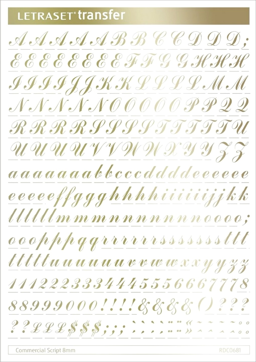 Letraset Rub On Transfer Letters