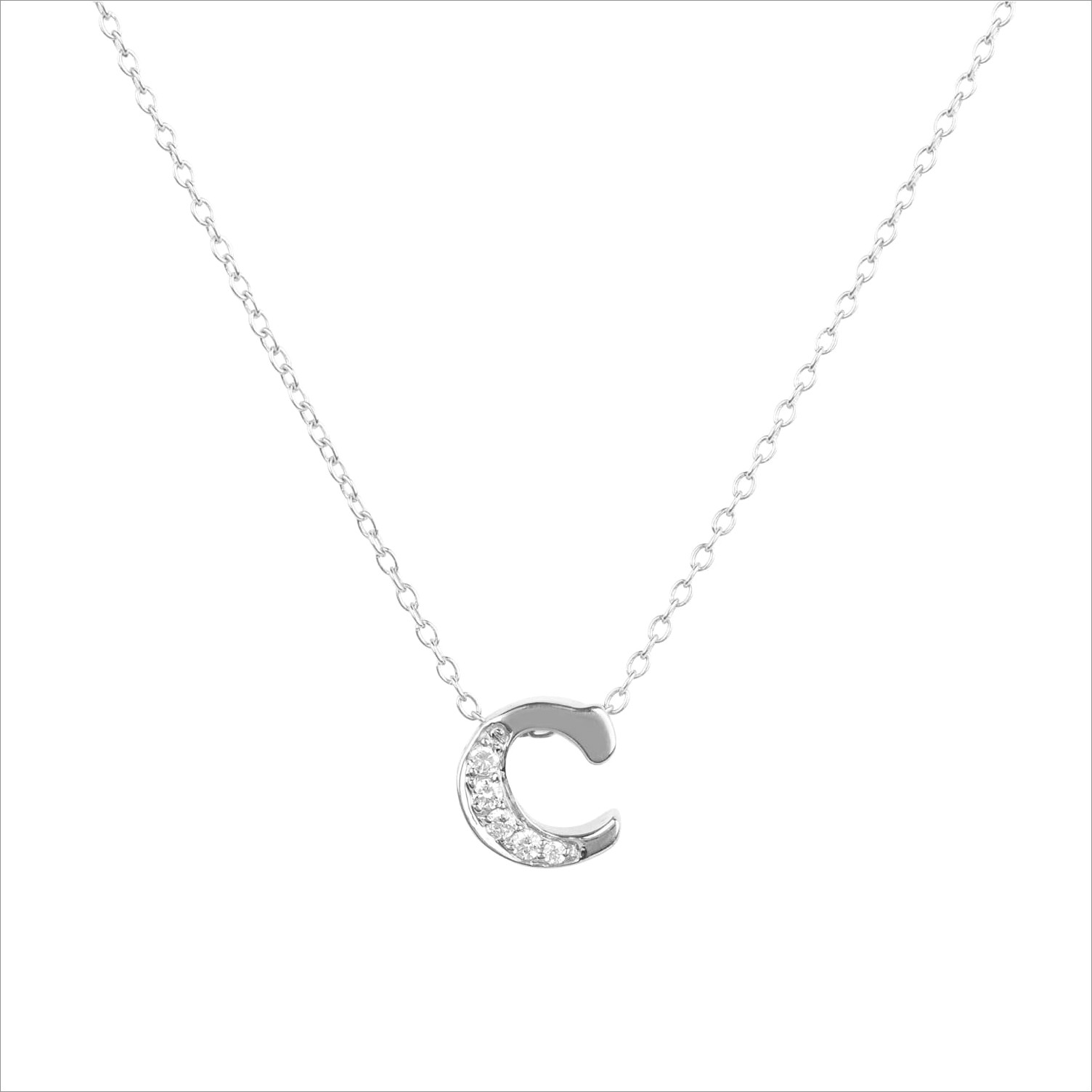 Letter C Diamond Pendant Necklace
